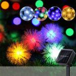 Оригинал 7M 50 LED Солнечная Power Pine Ball Shape 2 Mode Рождественская фея String Light Party На открытом воздухе Декорация патио
