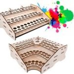 Оригинал Wooden Pigment Bottle Storage Organizer 74/81 Bottles Color Paint Ink Brush Stand Rack Modular Holde