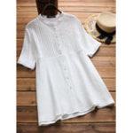 Оригинал Женское Короткая рукава с воротником Плиссированная свободная блузка