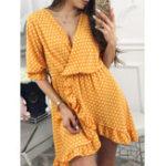 Оригинал Boho Half Sleeve Polka Dot Print Неправильный Mini Платье