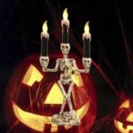 Оригинал Батарея Powered Prop Skeleton Ghost Haunted 3 LED Подсвечник для фонаря Halloween Party Decor
