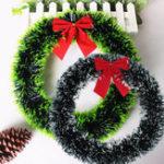 Оригинал Новогодниеукрашения35CMЗеленаясторона/ Белая сторона носовых узлов Madder Wreath Wall Ornament Door Decor