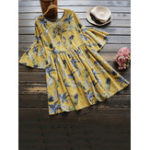 Оригинал Женское с короткими рукавами Ruffled ретро цветочные блузки