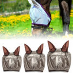 Оригинал ЛошадьЛетняяпротивомоскитнаясеткаFlyМаска с ушами Обложка Breathable Equestrian Supplies