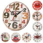 Оригинал 12смВинтажСельскийкруглыйдеревяннаястена Часы Chic Antique Home Office Decor Gifts