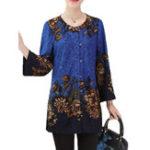 Оригинал Элегантные женщины Цветочные Print Crew Шея с длинным рукавом