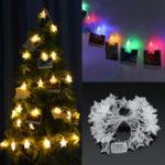 Оригинал Батарея Эксплуатируемый 6M Теплый белый Colorful 40 LED Звездные фото клипы Свет струны Рождество Свадебное Декор
