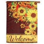 """Оригинал 39""""x 28 """" Подсолнухи Добро пожаловать Осень Сад Флаг Баннер Home House Decorations"""