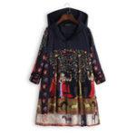 Оригинал Этнические цветочные печати лягушка кнопки народного стиля с капюшоном пальто
