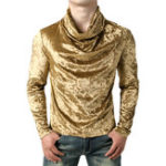 Оригинал МужскиефутболкиВинтажPulloverShowyPile Heap Collar T-shirt
