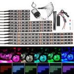 Оригинал 5050 LED Мигающий свет RGB 15 Цвет 12 полосок Glow Neon Wireless Дистанционный мотоцикл