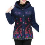 Оригинал Фольк-стиль вышивки флис тушеные с капюшоном пальто