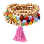 Оригинал 108Pcs Деревянный бусины Будды Многослойный браслет Colorful Агат