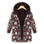 Оригинал Женская зимняя с капюшоном Polka Dot Printed Винтаж Пальто