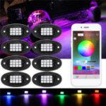 Оригинал 8Pcs RGB LED Under Body Lights Rock Лампа Bluetooth Беспроводной контроль для внедорожника Лодка DC 12V