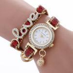 Оригинал Мода роскошь Женское Love Word кожаный ремешок Кварцевые часы
