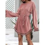 Оригинал Элегантный Женское Pure Color с длинным рукавом Tassel Patchwork Платье