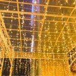 Оригинал AC220V 2M * 0.6M LED Шторный свет Свет Праздник Рождество Дом Теплый белый Лампа US Plug