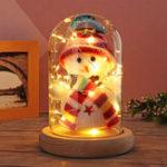 Оригинал Lovely Snowman Christmas LED Ночное светлое стекло Dome Bell Банка со стеклянным покрытием Деревянный базовый декор