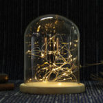 Оригинал 15 * 18,5 см Стекло Dome Дисплей Банка Отделка декоративной деревянной основы C Fairy Светодиодный