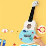 Оригинал DIY 21 Inch Ukulele Набор Укулеле Handwork Support Painting Kids Toy для начинающих любителей