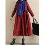 Оригинал Женские карманы Цветочные принты Loose с длинным рукавом Плиссированные платья