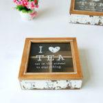 Оригинал Pine Wood Glass Retro Чай Хранение Коробка Чехол Настольный ювелирный держатель Home Decor Gift