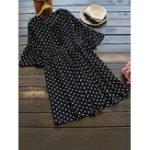 Оригинал Женское Polka Dot Print Lace Up Ruffle Sleeve Blouse