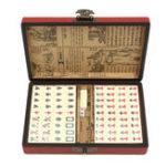 Оригинал Портативный ретро-маджонг Коробка Редкий Китайский 144 Маджонг Комплект бамбуковой части с Коробка
