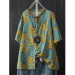 Оригинал Cotton Loose Batwing Sleeve Цветочная кнопка для печати Pocket Рубашка
