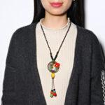 Оригинал Этнические Colorful Керамика бисера Tassel ожерелье цветок Кулон Ожерелья для Женское Подарок