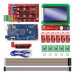 Оригинал Rampas 1.4 Controller + Mega2560 R3 + 12864 Дисплей с концевым выключателем и A4988 Stepper Мотор Драйвер DIY Набор для Arduino 3D-принтер с ЧПУ