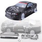 Оригинал 1PC Коробка Pack 020GR 190MM Окрашенная оболочка из ПВХ корпуса + Заднее крыло для 1/10 RC Drift Racing Авто Детали модели