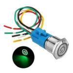 Оригинал 19 мм Металлический самоблокирующийся переключатель 12V LED 5PIN ON-OFF Push Button Switch с Провод Водонепроницаемы