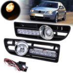 Оригинал Пара передней нижней бамперной противотуманной люминесцентной решетки w / LED DRL для VW Bora Jetta MK4 1999-2007