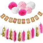 Оригинал Мальчик-девочкаBabyShowerSetБаннернаябумага Pompom Tassel Garland Birthday Party Decorations