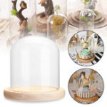 Оригинал Clear Glass Dome Деревянная база Cloche Bell Банка Дисплей Подставка Micro Landscape DIY Декорации для вазонов