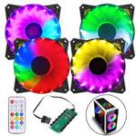 Оригинал Coolmoon 4PCS 120mm Регулируемый RGB светодиодный свет ПК Чехол Охлаждающий вентилятор с Дистанционное Управление