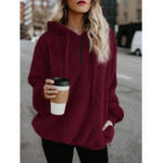 Оригинал Women Fleece Hooded Solid Color Autumn Winter Sweatshirt