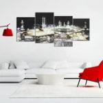 Оригинал 4PcsИсламскаяМеккаКаабаХаджПлакат Стены искусства холст Печать DIY Домашний декор Картины
