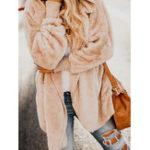 Оригинал Женское Pure Color Fluffy Fleece Thicken Winter с капюшоном