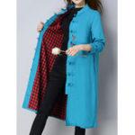 Оригинал Folk Style Женское с длинным рукавом Пластина Buckle Винтаж Пальто