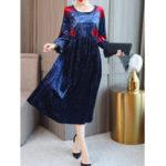 Оригинал Женское Цветочная печать O-образным вырезом 3/4 Рукав Velvet Платье