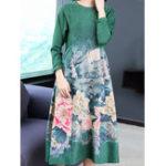Оригинал Женское с длинным рукавом Цветочные печать O-образным вырезом Loose A-Line Платье