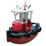 Оригинал 1:18 Mini DIY Tugboat Rescue Simulation RC Лодка Части модели Деревянный корабль Лодка Подарок освещения