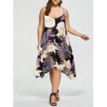 Оригинал Casual Женское Loose Floral Print Нерегулярный ремень для ног Платье
