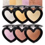 Оригинал 6Colors Сердце Highlighter Eye Shadow Face Glow Powder Макияж