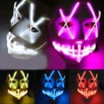 Оригинал Halloween Ghost Slit Pleasure Luminous Light EL Line Маска Мода Маска Одежда Маска Вечеринка