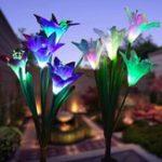 Оригинал 2шт. Солнечная Мощность 4 LED Лили Цветочные огни Многоцветные изменения На открытом воздухе Сад Патио ярлык лампы