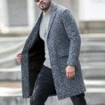 Оригинал Mens Mid Long Tweed Шинель с пальто из телячьей шерсти